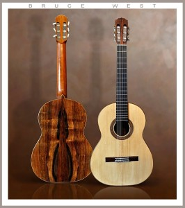 guitar by bruce 2015.- 3 piece quarter cut Brazilian Rosewood back, top: approx. 95 year old hand split European Spruce. 65 cm string length. Honduras Mahogany neck. solid willow linings and tail block. Truly beautiful guitar in all respects